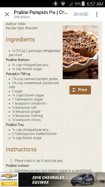 Pecan oumpkin pie