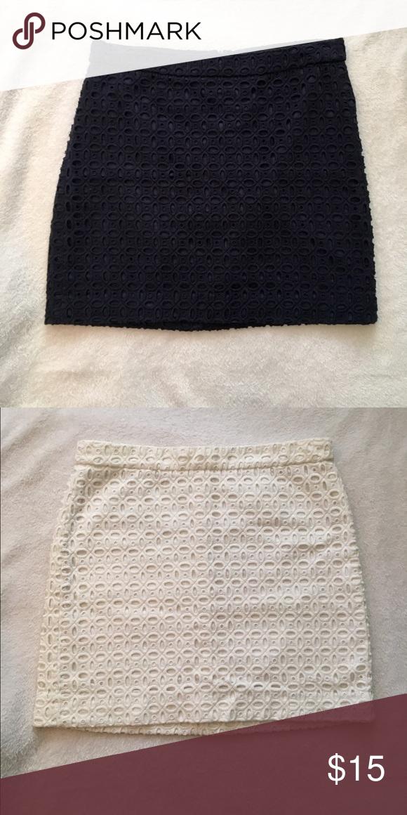 J. Crew Eyelet Mini Skirt Navy Cotton eyelet skirt. Zips up the back. J. Crew Skirts Mini