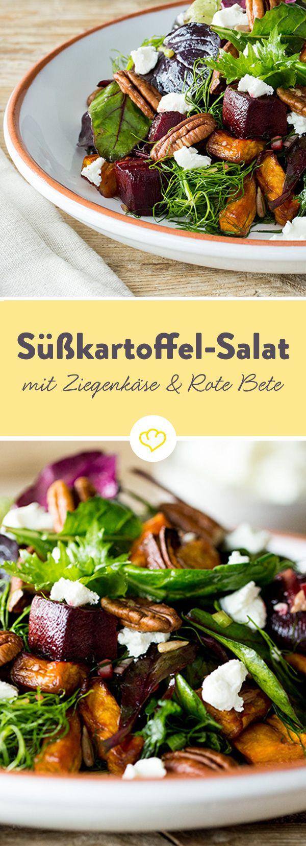 Süßkartoffel-Salat mit Rote Bete, Ziegenkäse und Pekannüssen #potatosalad
