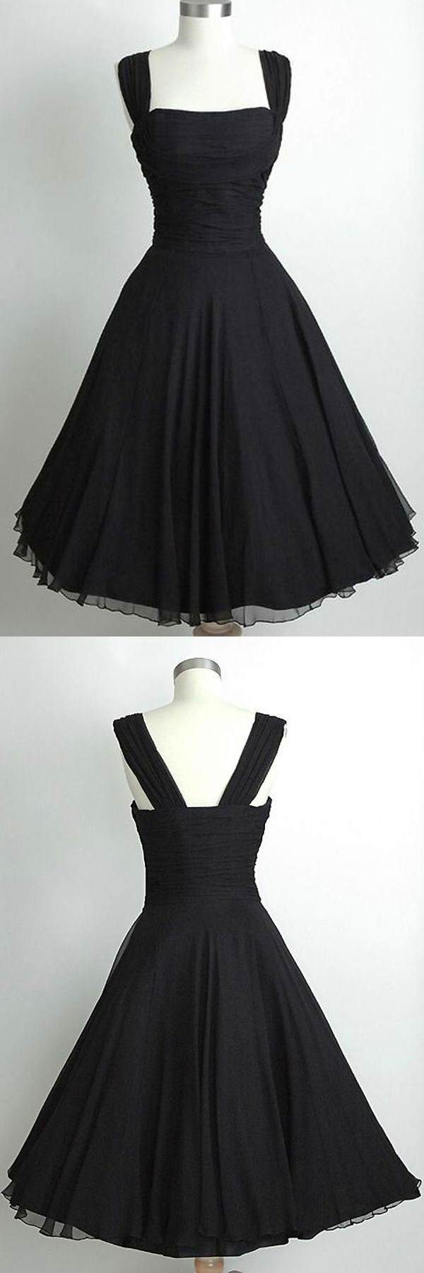 Vintage square tea length sleeveless black homecoming dress ruched