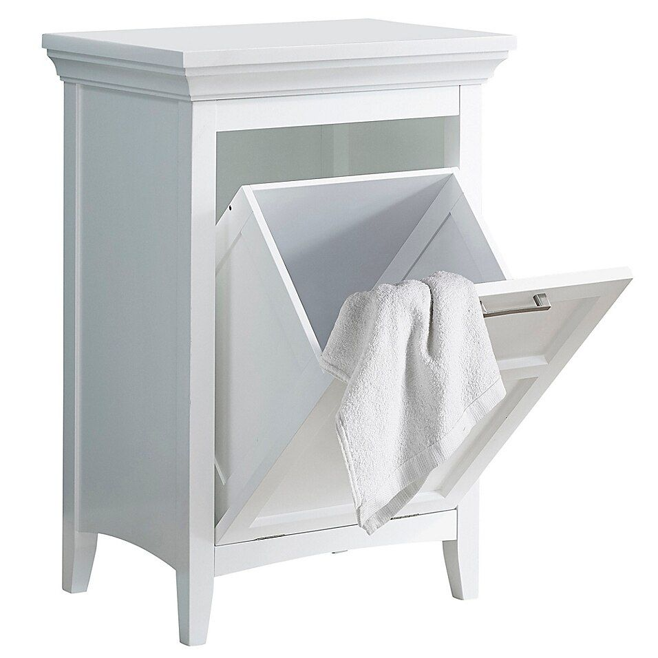 Simpli Home Avington Laundry Hamper In White - Compact and versatile, the Simpli Home Avington Laundry Hamper offers a chic and functional addition to your bathroom or laundry room. It features a front tilt out hamper that provides extra space for storing your laundry.