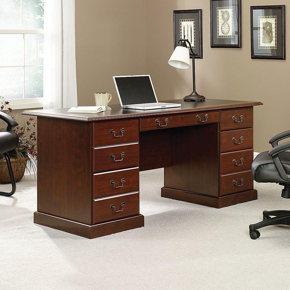 "Sauder Heritage Hill Double-Pedestal Desk, 64 3/4""W"