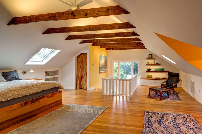 Room Of The Day Storage Attic Now An Uplifting Master Suite Attic Master Bedroom Attic Bedroom Designs Attic Master Suite