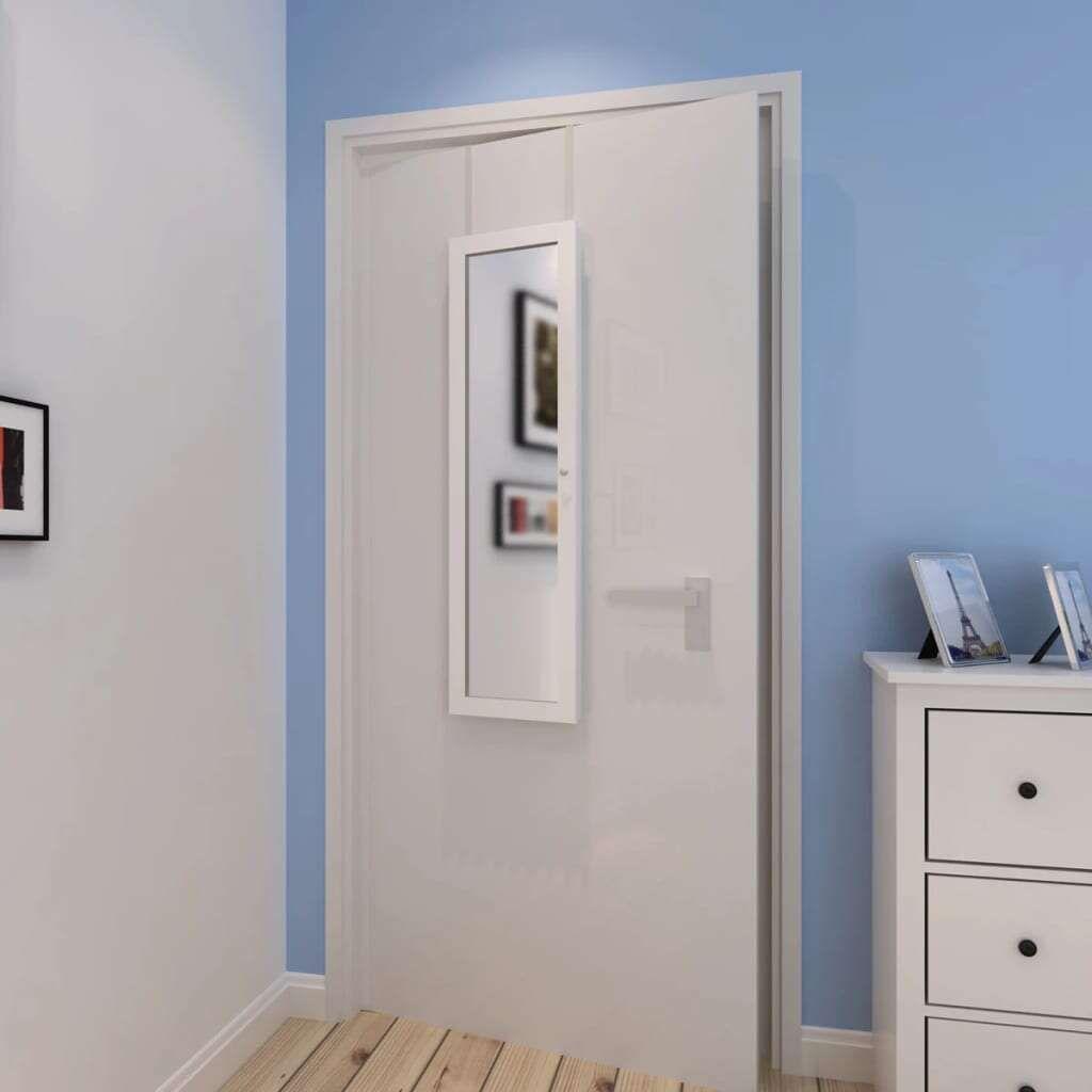 vidaXL Wooden Jewelry Cabinet With Standing Mirror And 2 Door Hangers