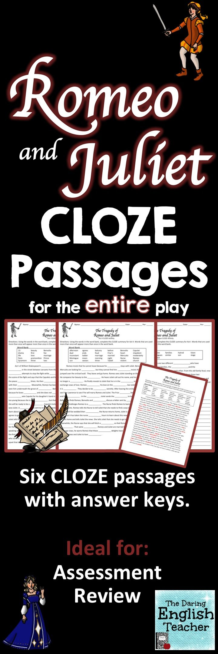 Teach Review And Asses Romeo Juliet With These Cloze Summary Passage There Are Six Differ Teaching Shakespeare Literature Lesson Inspiration Prologue Act 1 Study Guide Answers