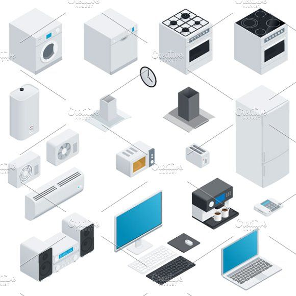 Household appliances isometric set by Equipoise on @creativemarket