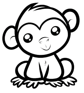 Coloring Monkey Head With Monkey Coloring Pages Monkey Coloring Pages Easy Animal Drawings Monkey Drawing Cute