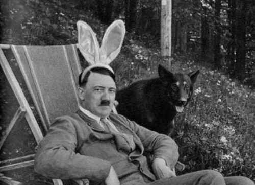 adolf hitler, bunny ears, even mass murderers have a sense of humor