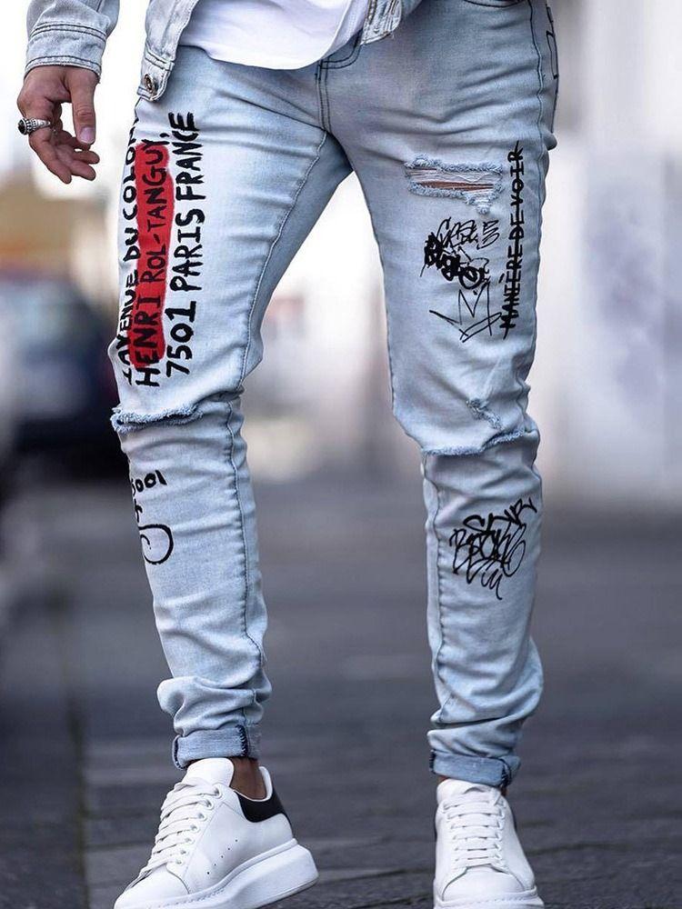Ericdress Letter Mens Zipper Jeans Pantalon De Mezclilla Hombre Pantalones De Hombre Moda Ropa Para Hombres Jovenes