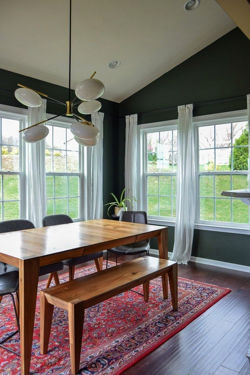 dining room reveal  midcentury modern dining room  dark paint  dining room ideas  dining room renovation  renovation Paintingmodern dining room reveal  midcentury modern...