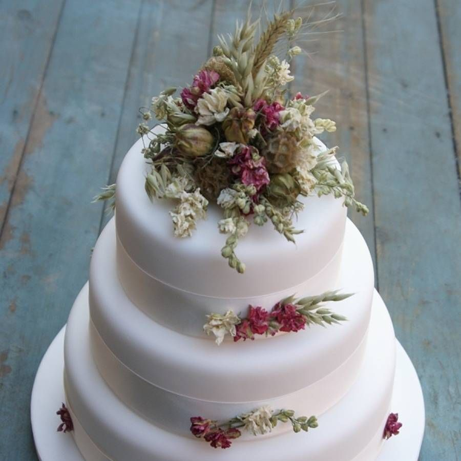 Flower Cake Toppers For Weddings: One Tier Wedding Cake Flowers Image