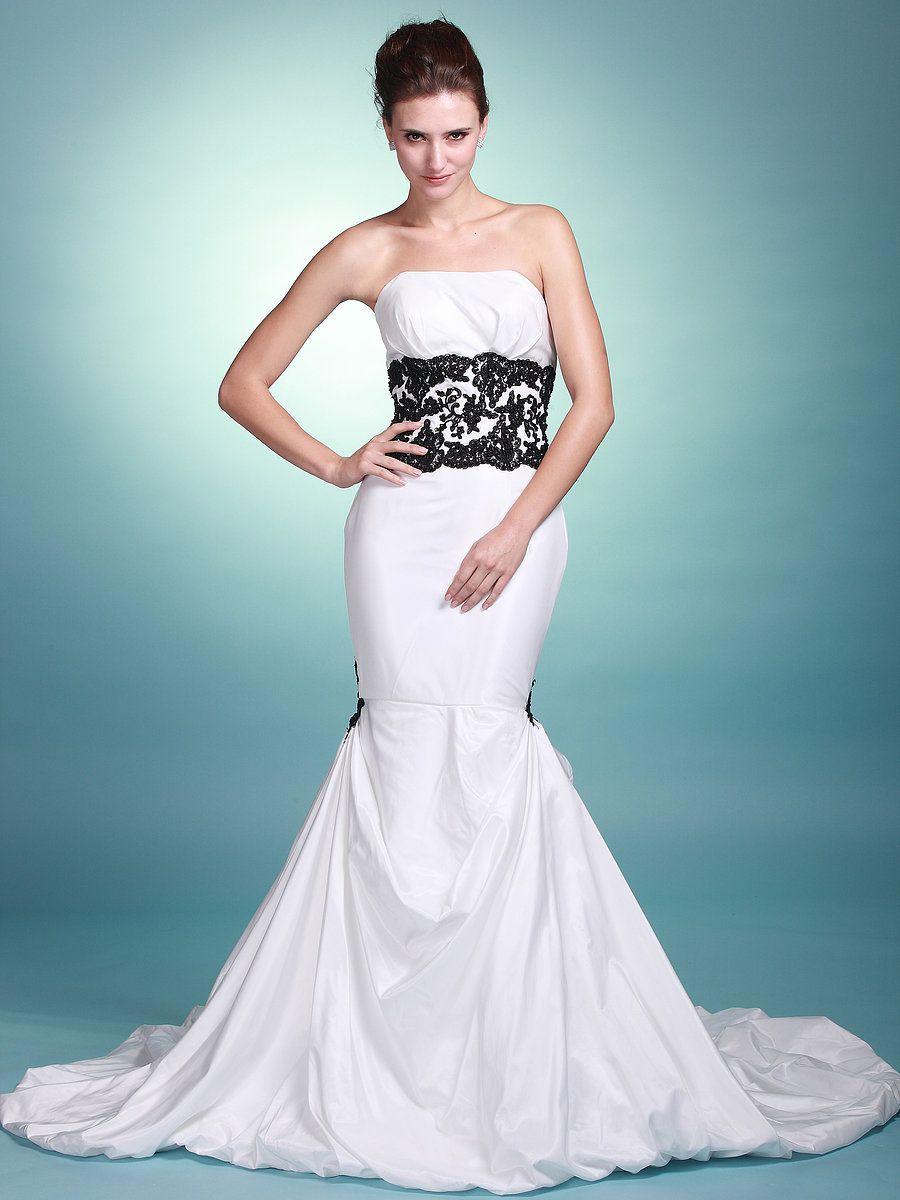 Lace Waist Band Strapless Mermaid Wedding Dress wedding
