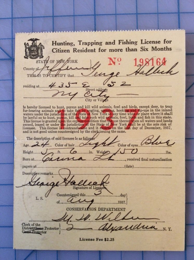 1937 State Of New York Hunting Trapping And Fishing Licence Alexandria Ny Hunting Animals Wild Things To Sell