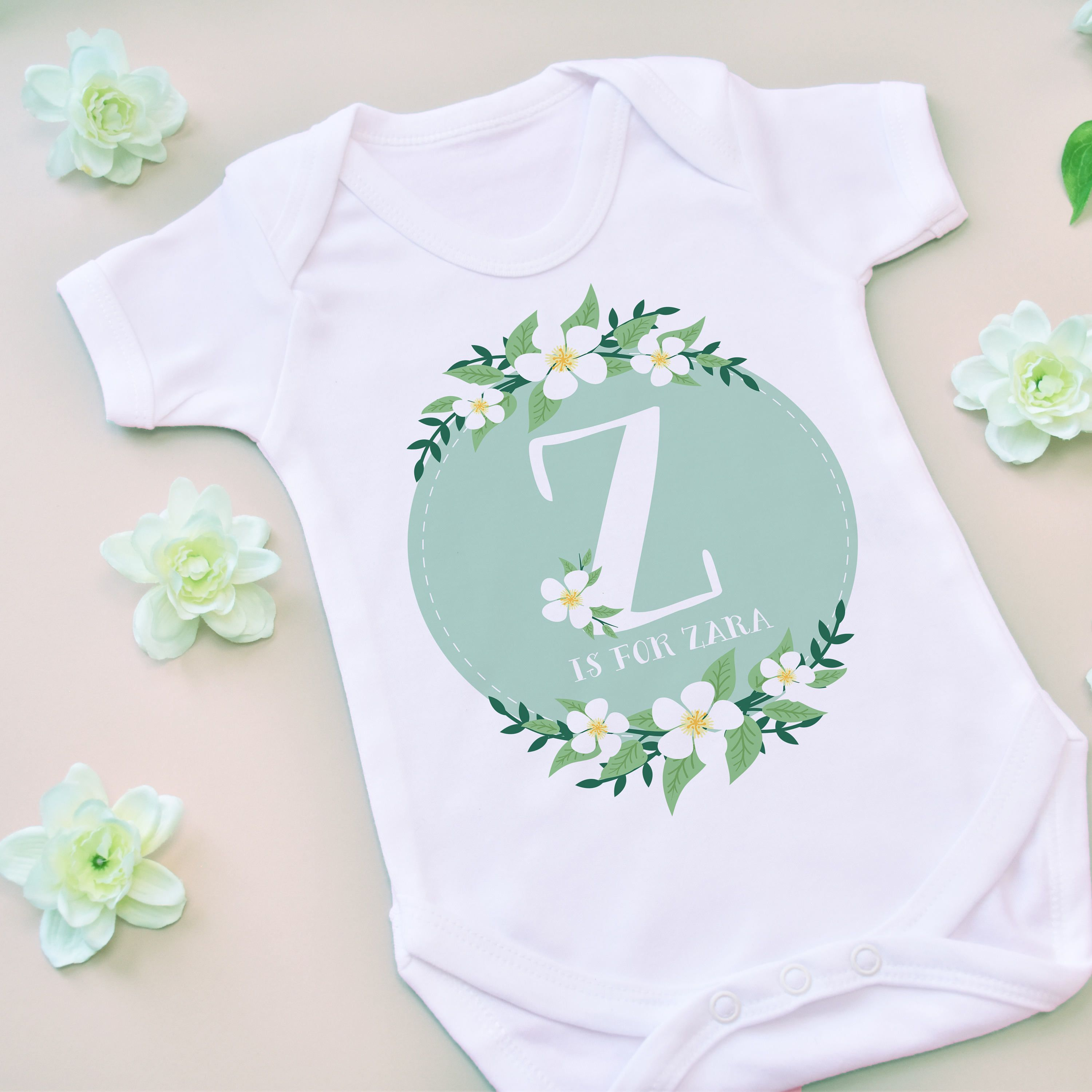 Personalised Baby Name with Cute Baby Items Design Blue Baby Vest