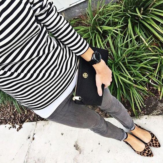 Love the stripes and leopard print mix #leopardshoesoutfit