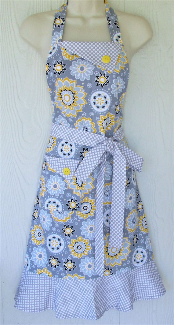 Gray and Yellow Apron Floral Apron, Polka Dots, Retro Style, Womens ...