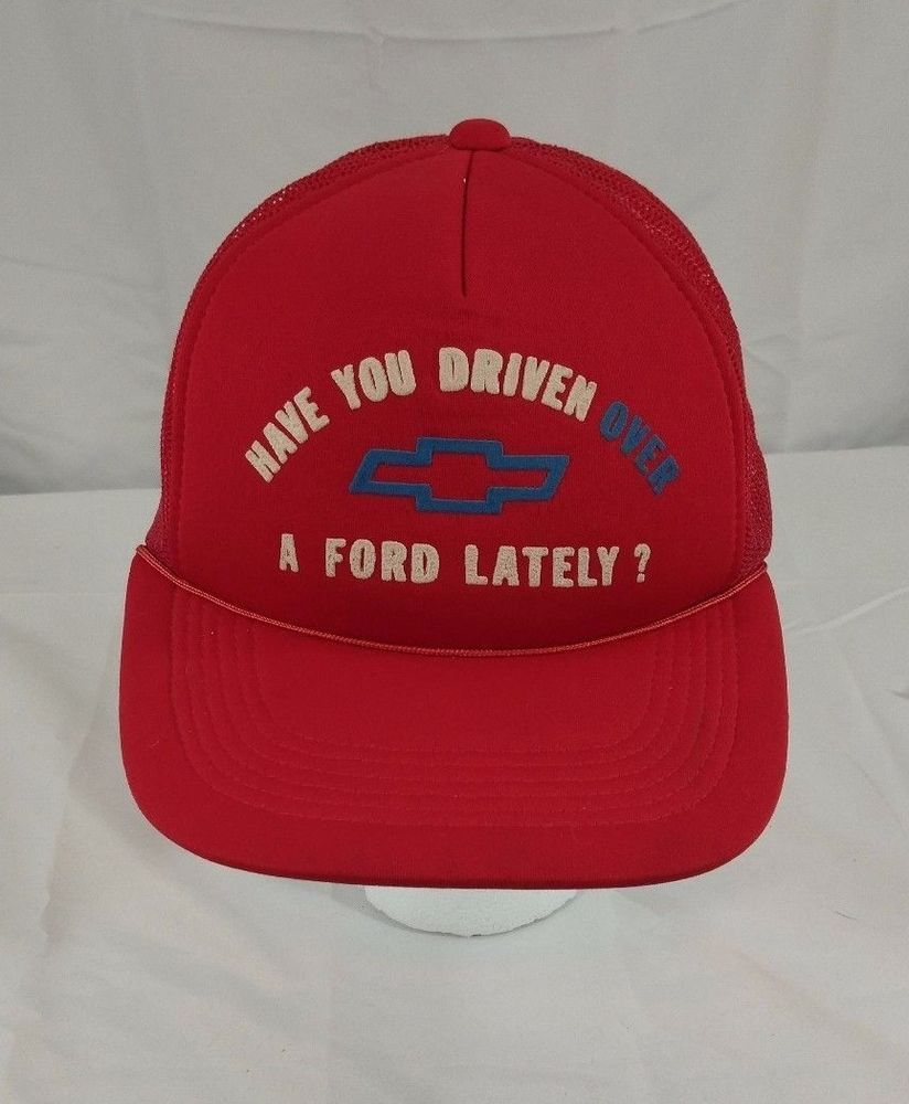 77a238b50 Red Chevy Chevrolet Vintage Trucker Snap Back Hat Cap Novelty Ford ...