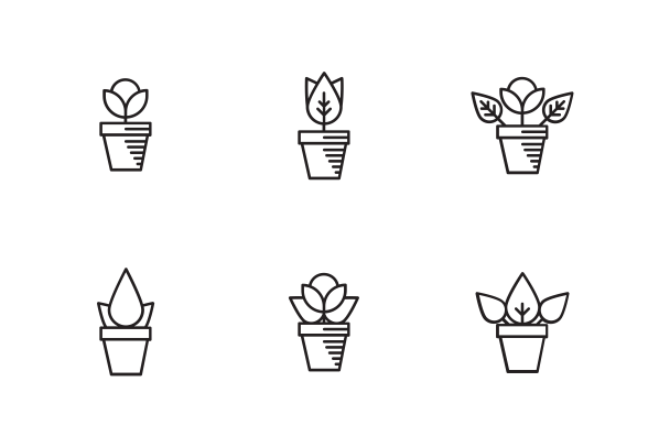 Plants In Pot Icons By Teleymon Flower Icons Line Drawing Tattoos Potted Plants