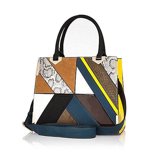 42 Brown Patchwork Tote Handbag Per Bags Purses Women