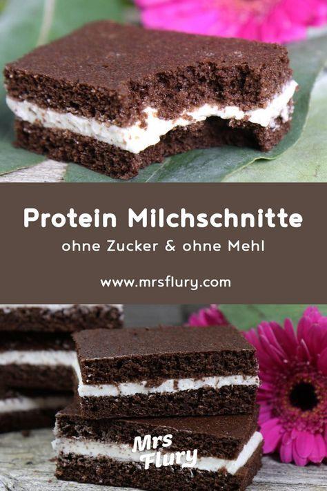 Protein Milchschnitte low carb | ohne Zucker und ohne Mehl - Mrs Flury - gesund essen & leben #lowcarbeating