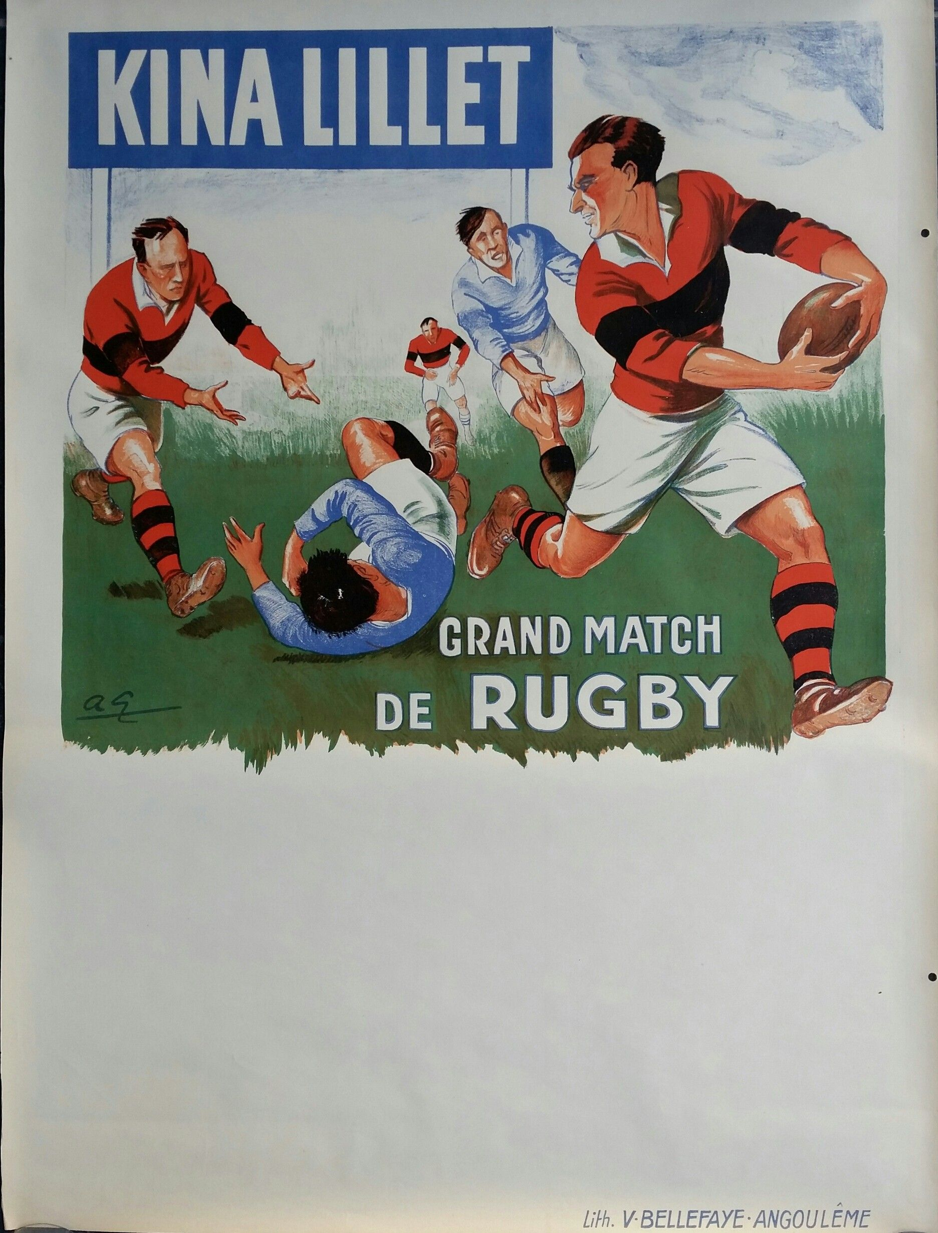 Original Vintage Poster Kina Lillet Grand Match De Rugby Bleu Andre Galland Rugby Poster Rugby Rugby Images