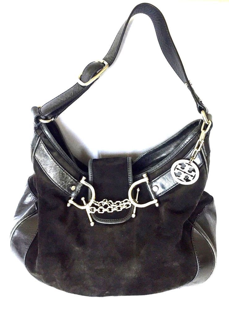 Tory Burch Slouchy Hobo Handbag Black Leather Suede Mix Purse Bag Ebay