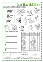 english worksheet free time activities 2 pages key exercise vocabulary exercises. Black Bedroom Furniture Sets. Home Design Ideas