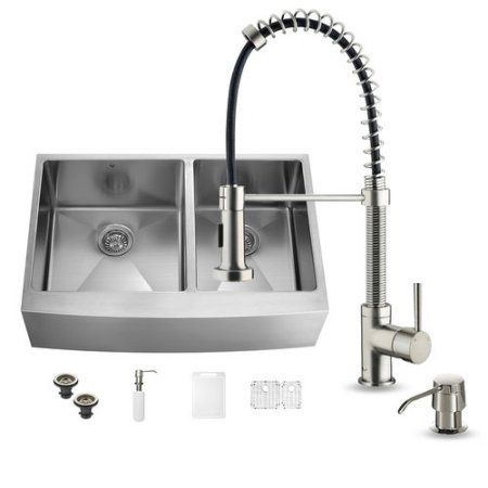 Vigo 36\'\' x 22\'\' Double Basin Farmhouse Kitchen Sink with Faucet ...