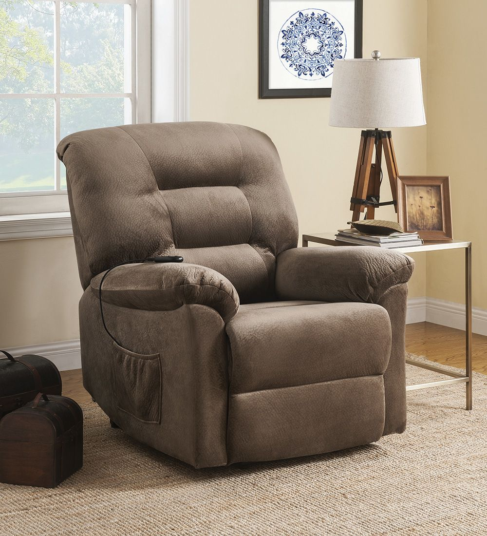 Coaster Cs025 Power Lift Recliner Chair In Brown Sugar Upholstery