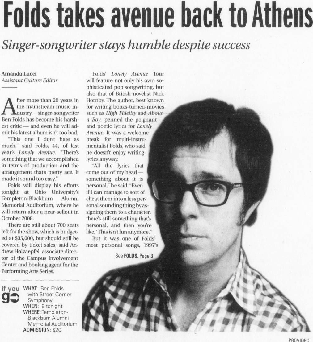 "Post (Athens, Ohio) January 26 2011, Page 1: ""Folds Takes"