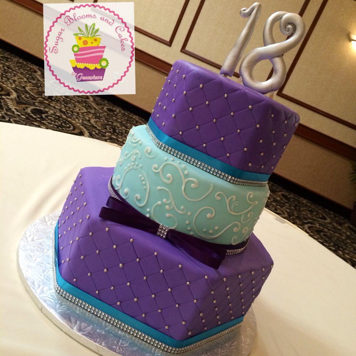 Purple and Teal Debut Cake Debut cake, Cake, 18th birthday