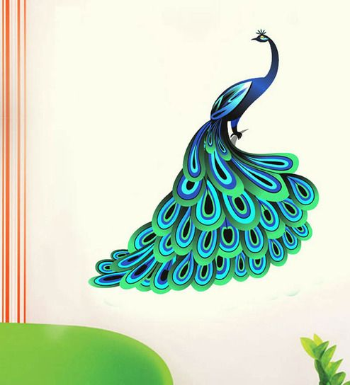 Buy WallTola Unique Blue Peacock PVC Vinyl Wall Sticker Online .