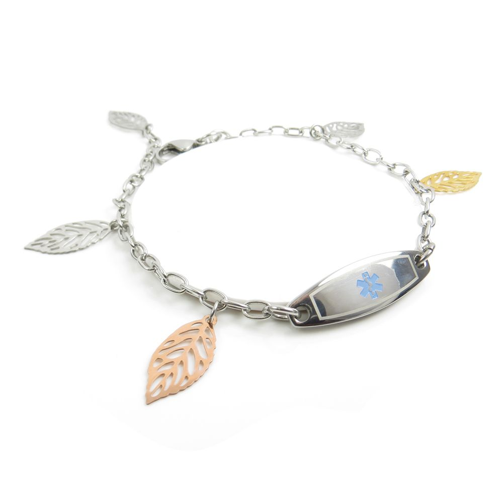 Unique women's walnut leaf #Medical #Bracelet is a fashionable item, uniquely designed with colored steel leaves.