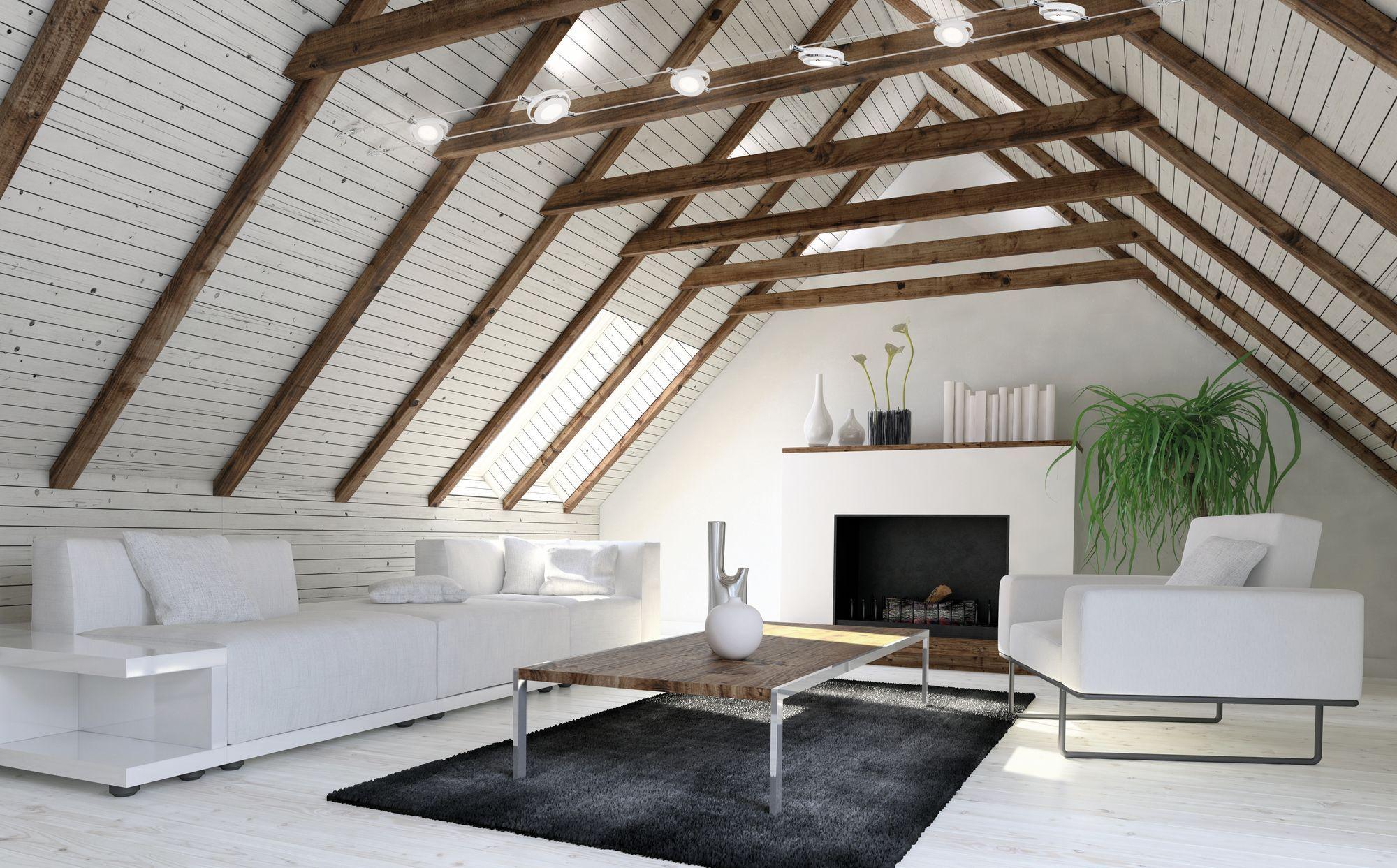 Perfekte Dachschragen Lampe Seilsystem Mit Led Spots Der Marke Paulmann Wohnzimmer Weiss Beleuchtung Dachschrage Dachschrage