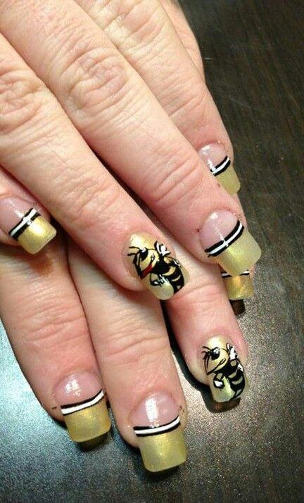 Georgia Tech Yellow Jackets Nail Art   Nail Art Designs   Pinterest