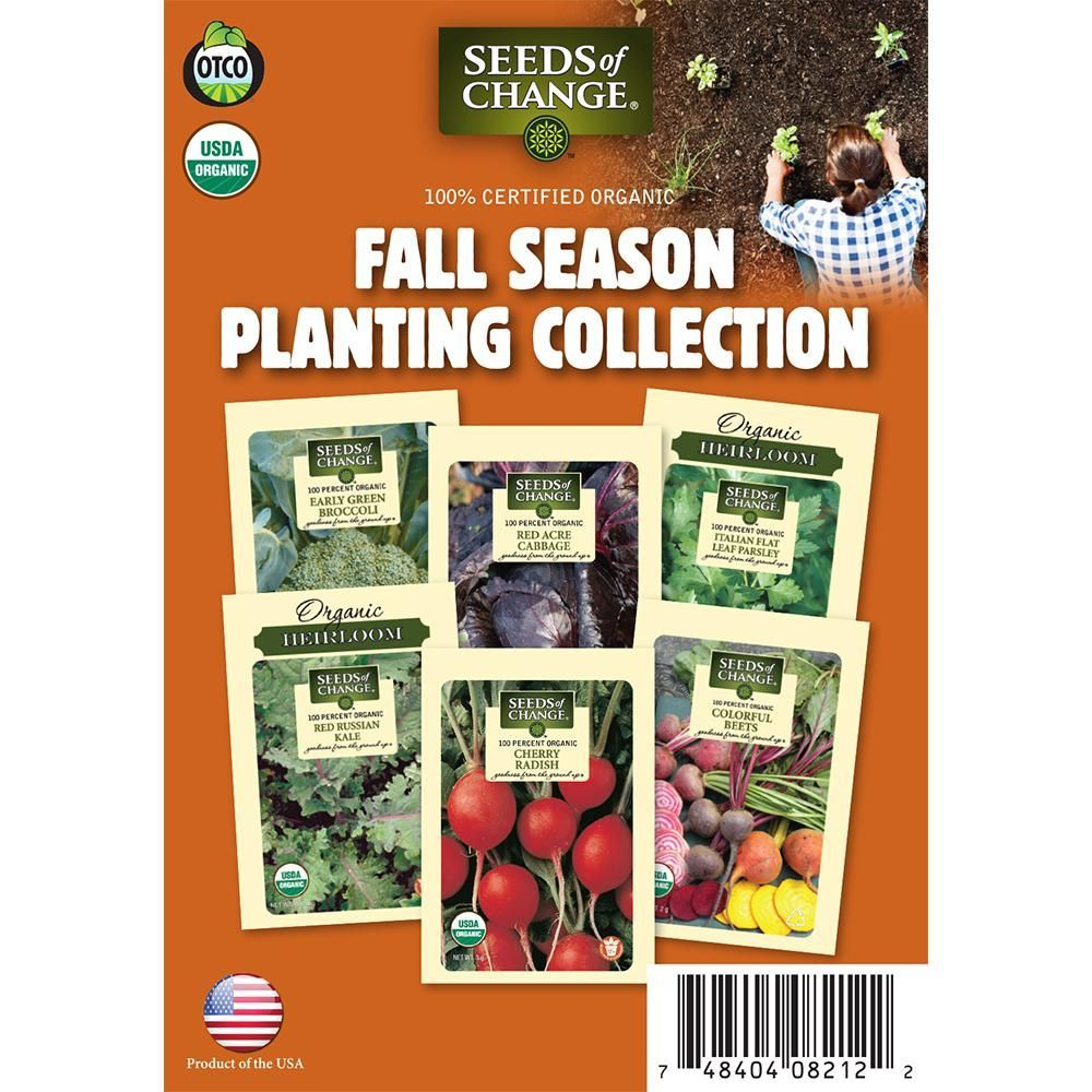 Seeds Of Change Organic Fall Season Planting Vegetable Seeds Collection 6 Pack