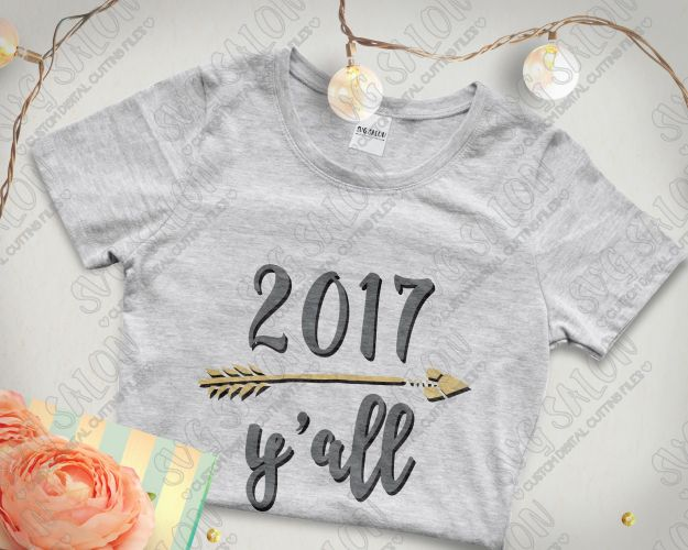 Yall New Years Eve Arrow Design Custom DIY Iron On Vinyl - Custom vinyl decals cutter for shirts