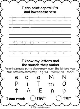 Lively Literacy Early Literacy Homework Pages | Homework, Literacy ...