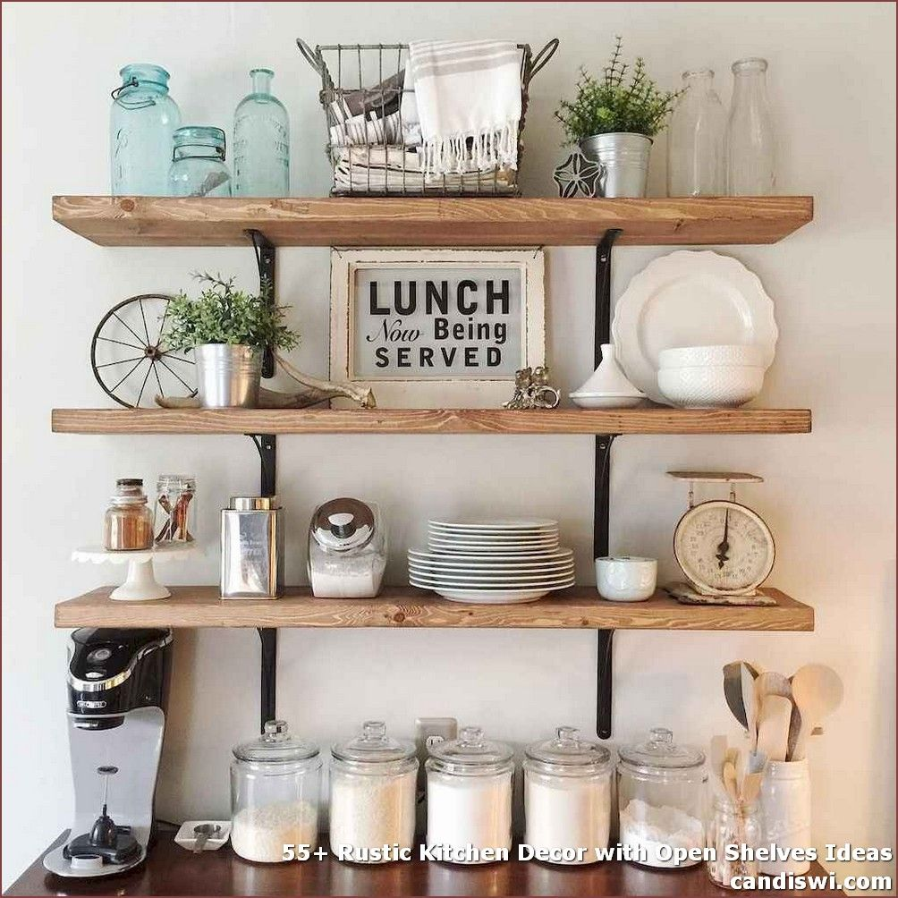 Rustic Kitchen Decor With Open Shelves
