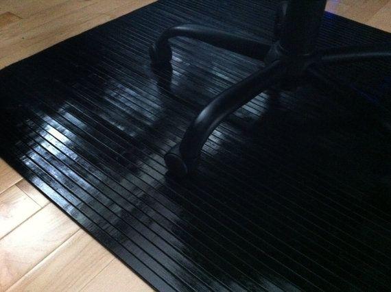 Black Obsidian Bamboo Chair Mat Office Floor Hard Wood Floor