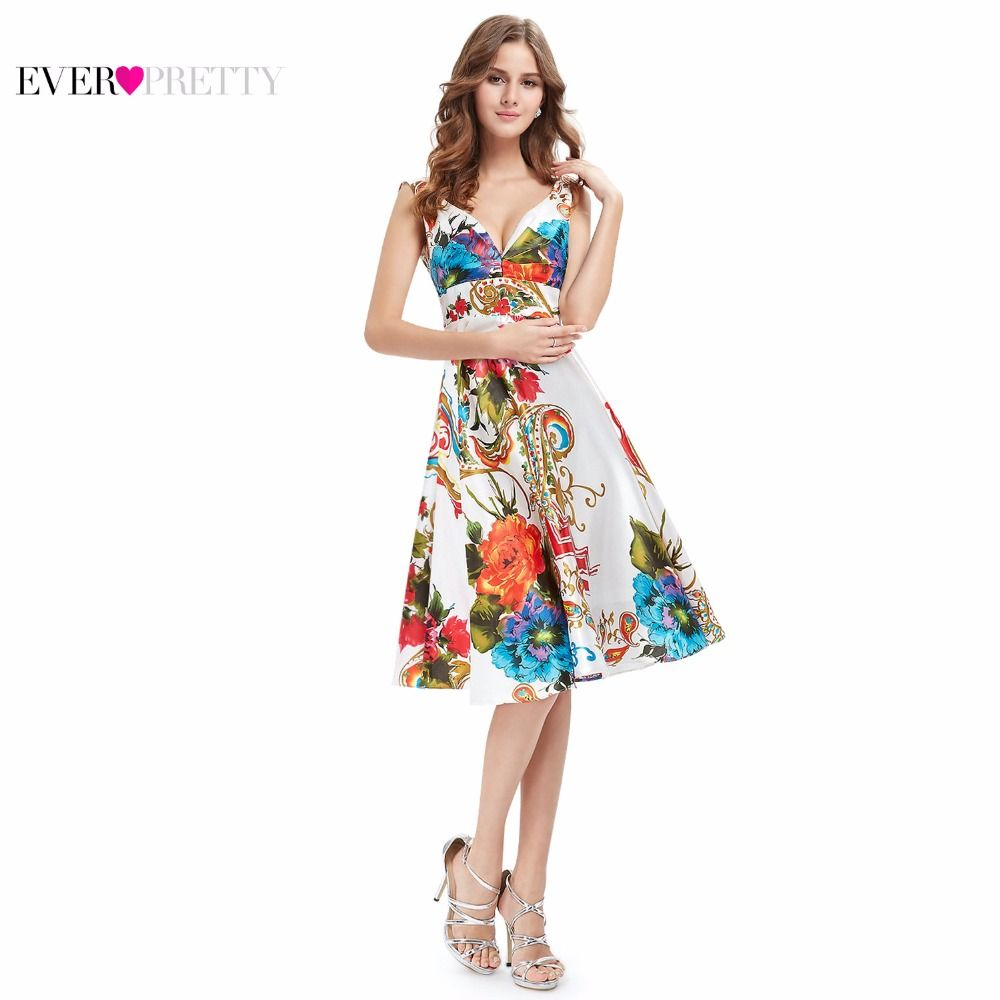 Cocktail Dresses Ever Pretty EP03381 2017 New Girl's Double V-neck Floral Print Satin Summer Dress Cocktail Dresses
