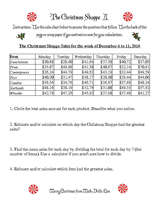 christmas math worksheet the christmas shoppe numbers under 100 a mrs spurling. Black Bedroom Furniture Sets. Home Design Ideas