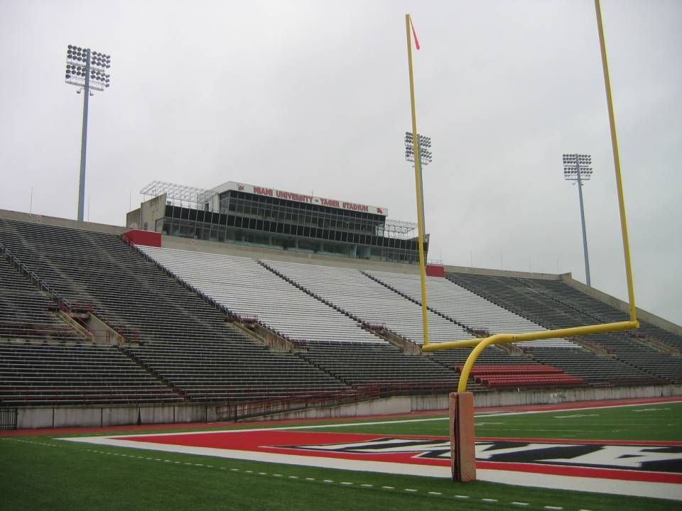 Miami University Redhawks View Of Press Box From Field View Of Fred C Yager Stadium Football University Of Miami University Miami