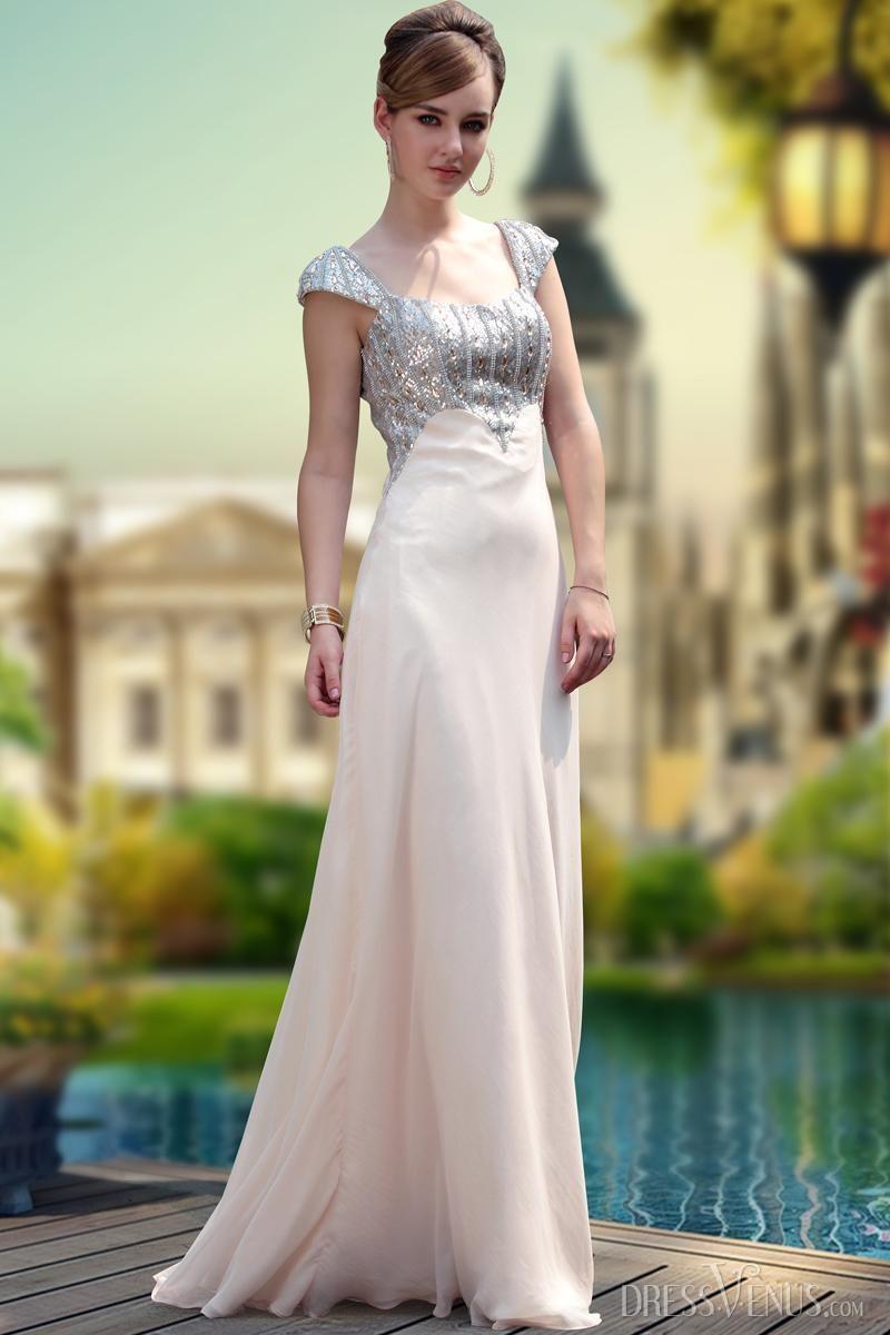 Fresh aline floorlength square neckline promevening dress