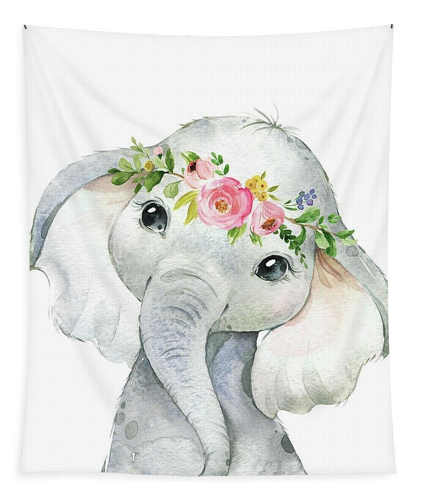 Boho Elephant Wall Art Tapestry Watercolor Zoo Safari Animal Baby Nursery Fabric Girl Room Decor