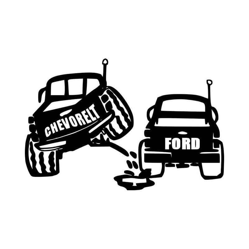 Ford Peeing On Chevy Vinyl Decal Sticker BallzBeatz . com -  Ford Peeing On Chevy Vinyl Decal Stick