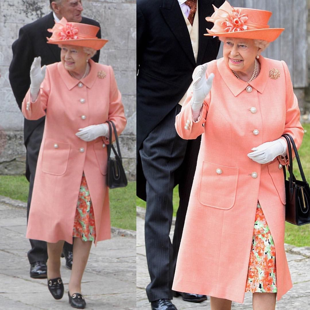 The Queen arriving at the society wedding of the year of Alexandra ...