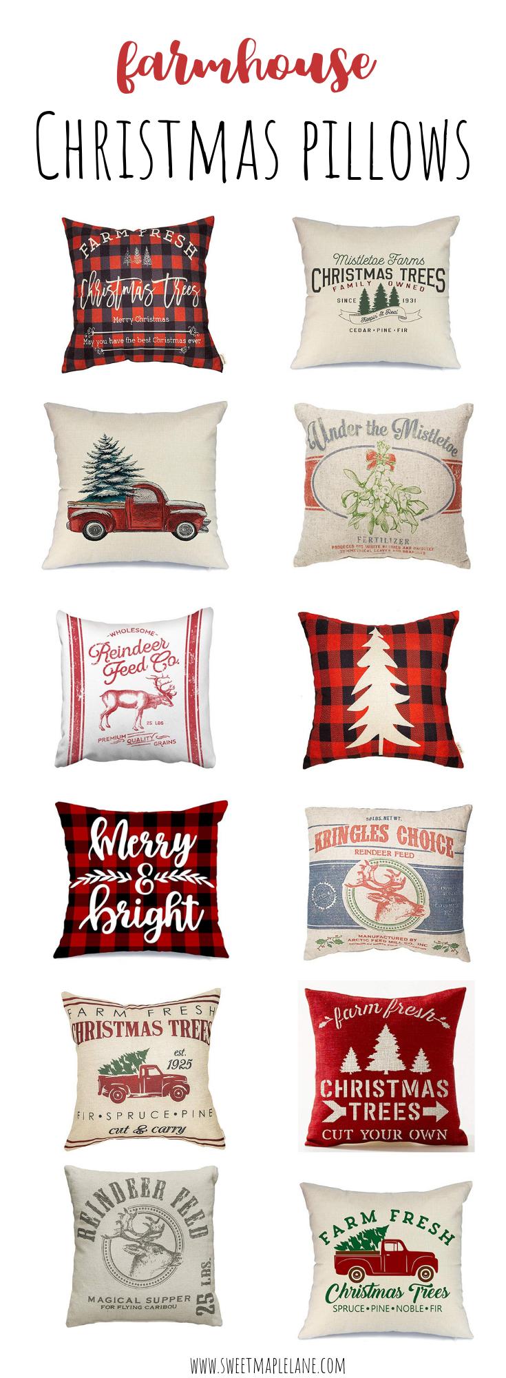Farmhouse Christmas Pillows and Pillow Covers Christmas