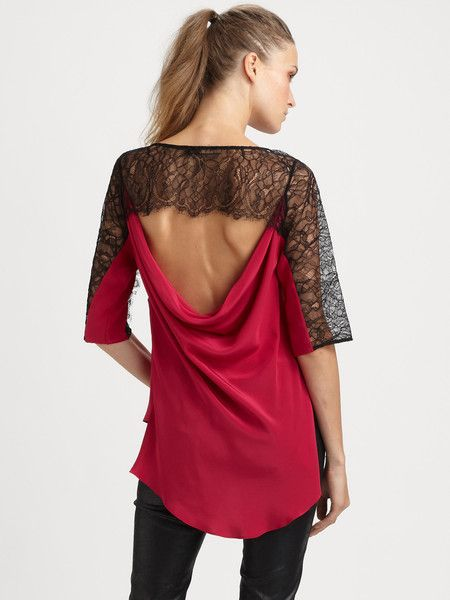 """Red top with black lace sleeve + black """"pleather"""" pants :: For tango freestyle"""