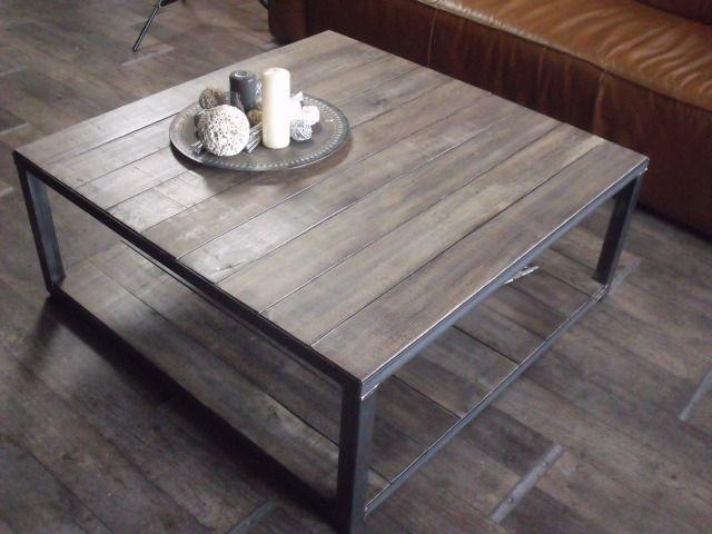 Table Basse Bois Gris Vieilli